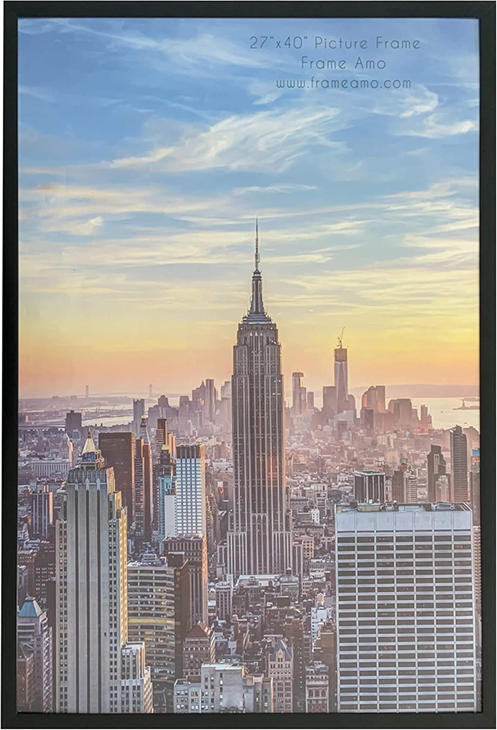Frame Amo Black 27x40 Picture or Poster Frame, Aluminum Profile with Acrylic Front, 1 inch Wide Border