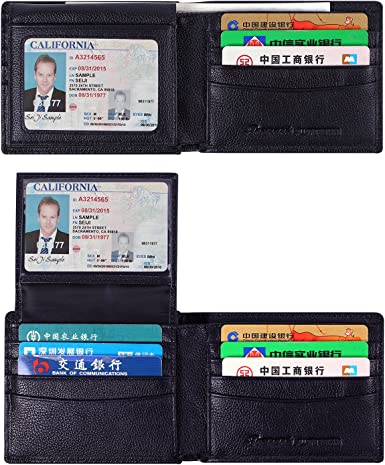 Mens Bifold Genuine Leather RFID Blocking Credit Card Holder ID Security Wallet