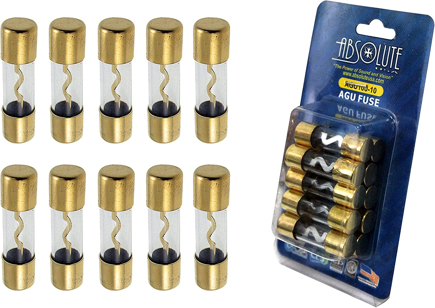 Absolute AGU100 5 Pack AGC Gold Standard Glass Fuses 100 Amp