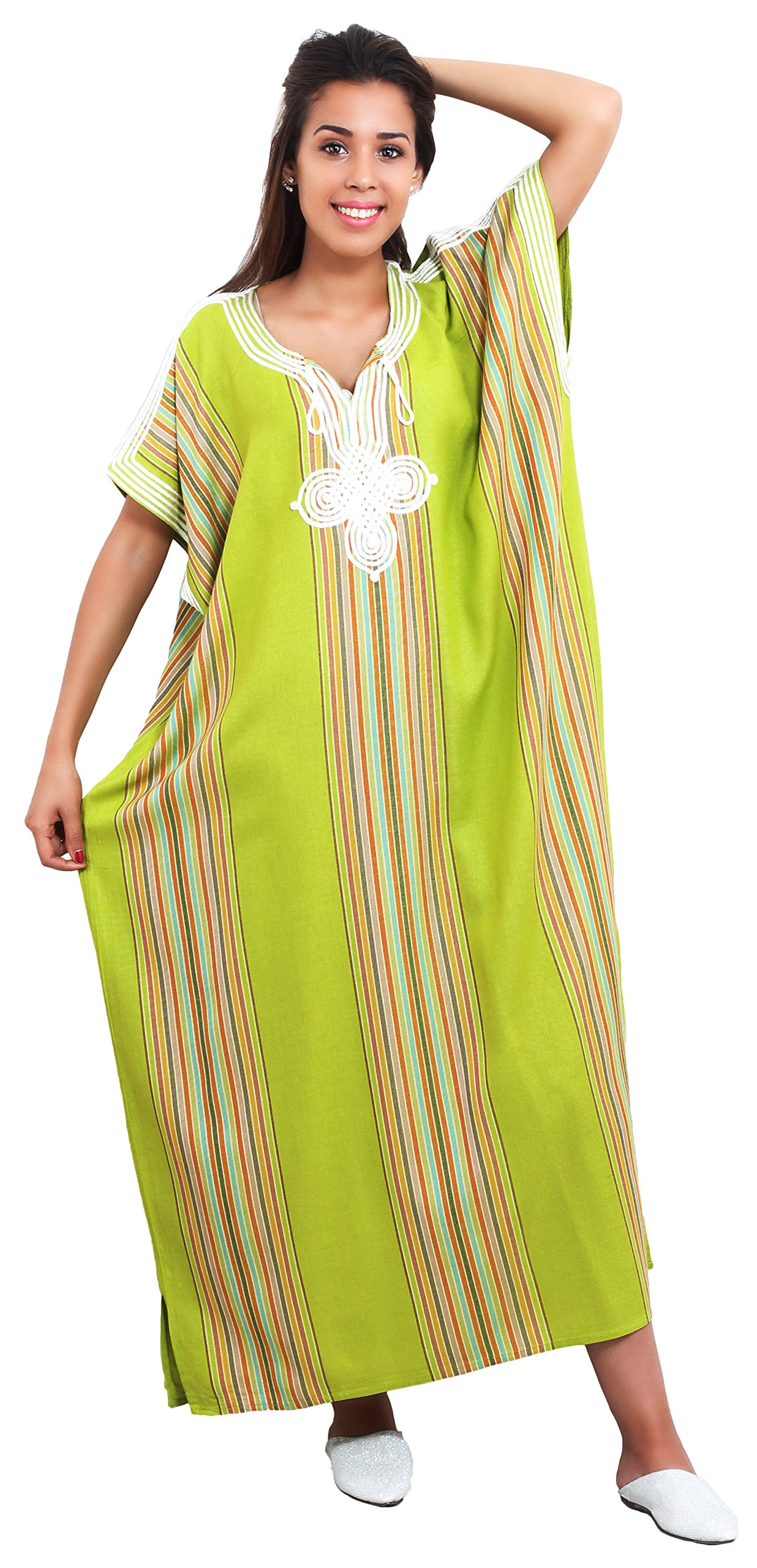 Moroccan Caftans Women Light Linen Handmade Embroidery SMALL to LARGE Lime