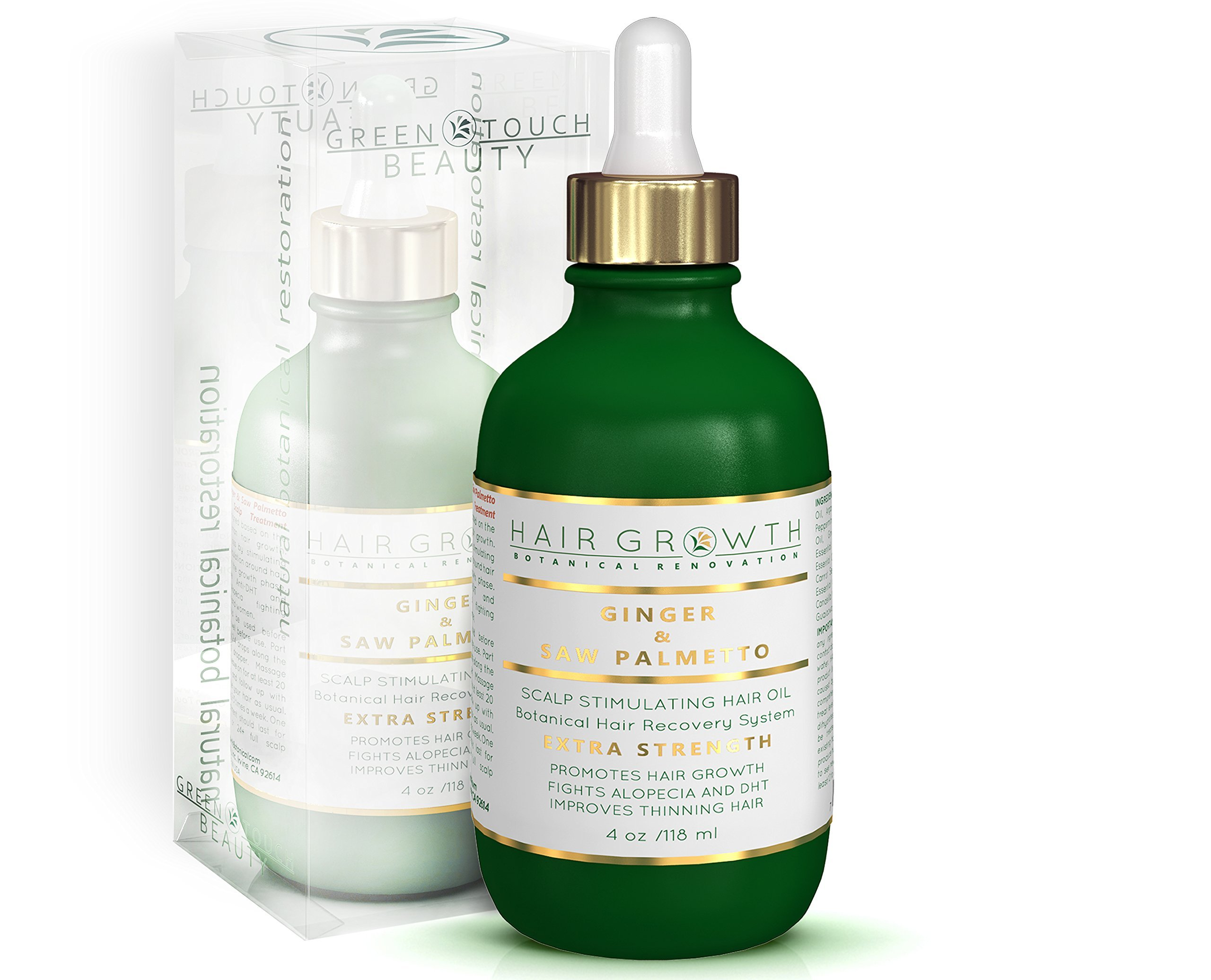Hair Growth Treatment Step 1: Ginger-Saw Palmetto Lab Formulated Anti-Hair Loss Botanical DHT Blocker and Alopecia Prevention 4 Oz