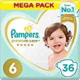Pampers Premium care Diapers, Size 6, Extra Large, 13+ kg, Value Pack, 36 Count