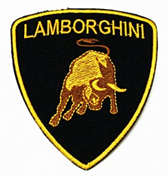 Logo Lamborghini White Iron on//Sew on Embroidered Patch//Badge T-shirt Patch