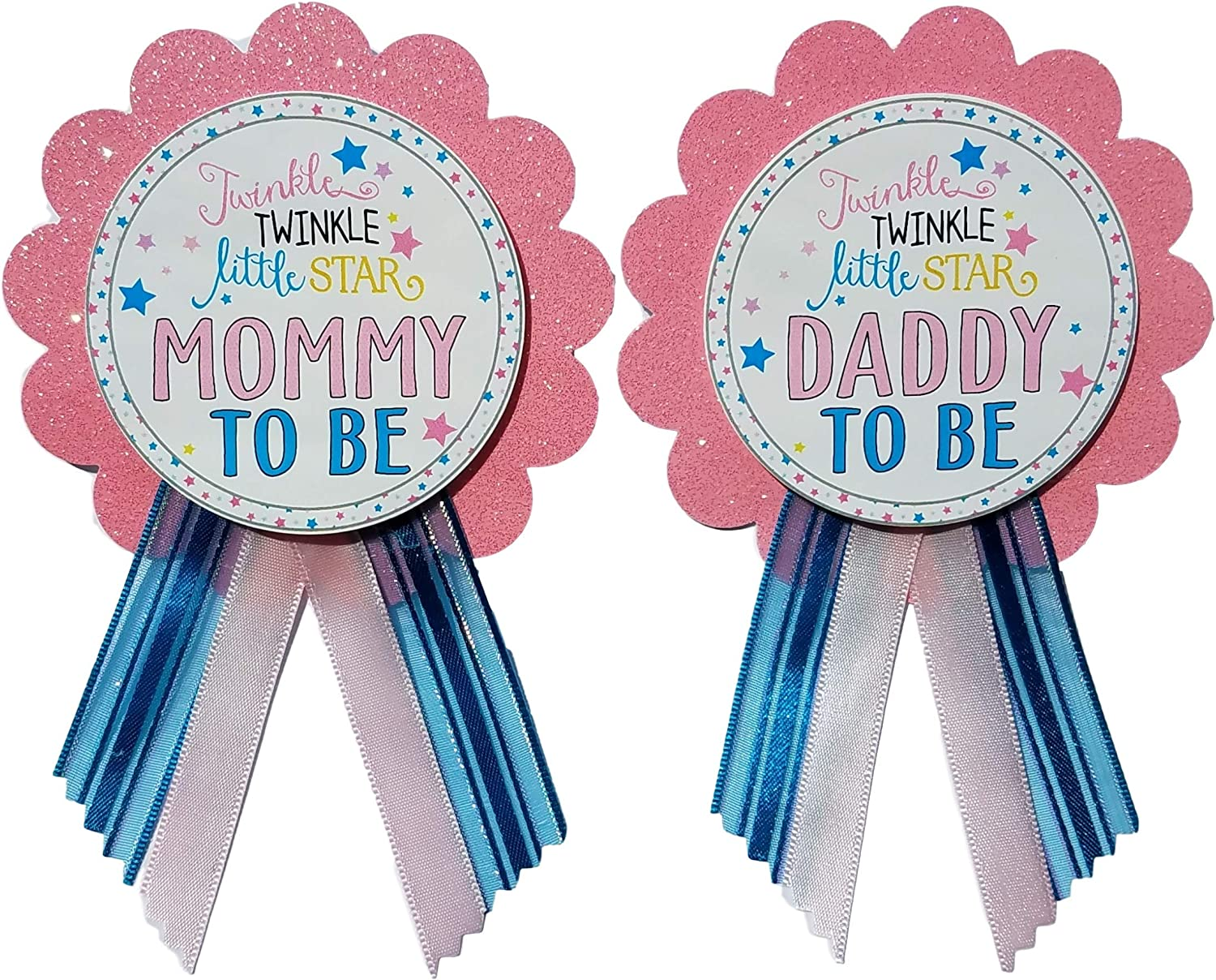 Mommy & Daddy to Be Pin Twinkle Little Star Baby Shower Pins for parents to wear, Pink & Blue, It's a Girl Sprinkle