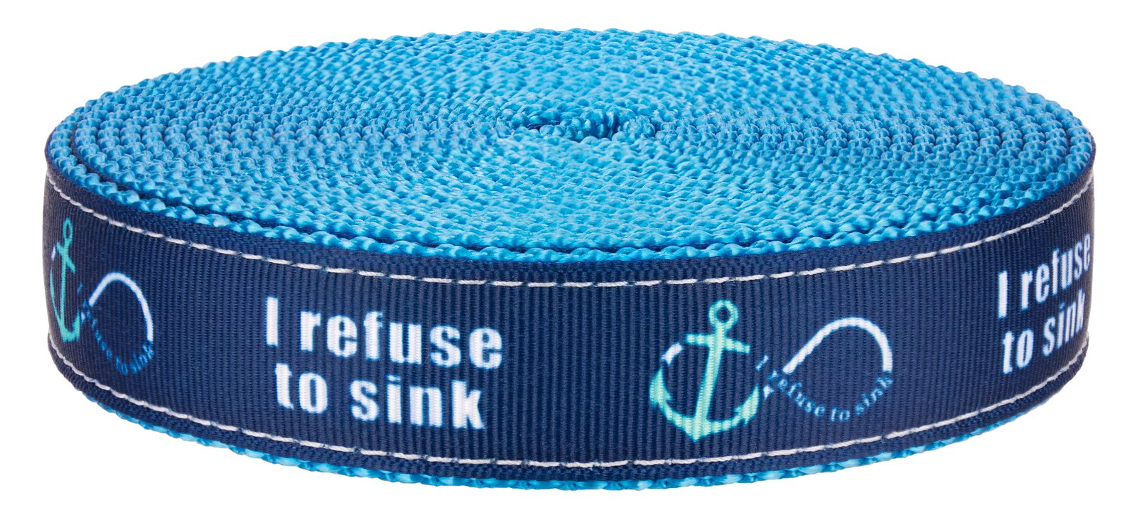 Country Brook Design 3/4in Blue Refuse to Sink on Ice Blue Nylon Webbing, 50 Yds