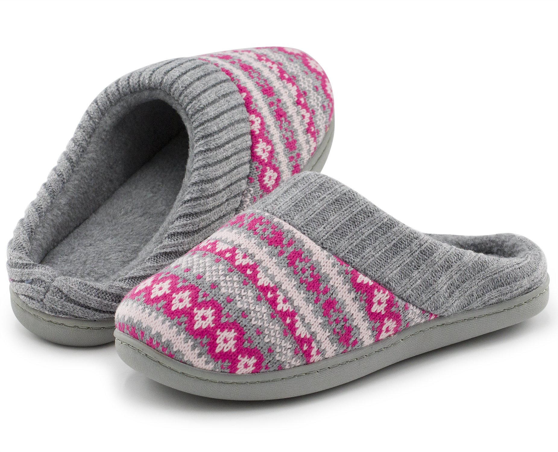 Women House Slippers Sweater Knit Scuff 9-10 B(M) US Size Rose Red Color New