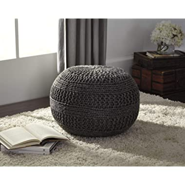 Ashley Furniture Signature Design - Benedict Pouf - Comfortable Ottoman & Footrest - Handmade Rib Knit - Charcoal Gray