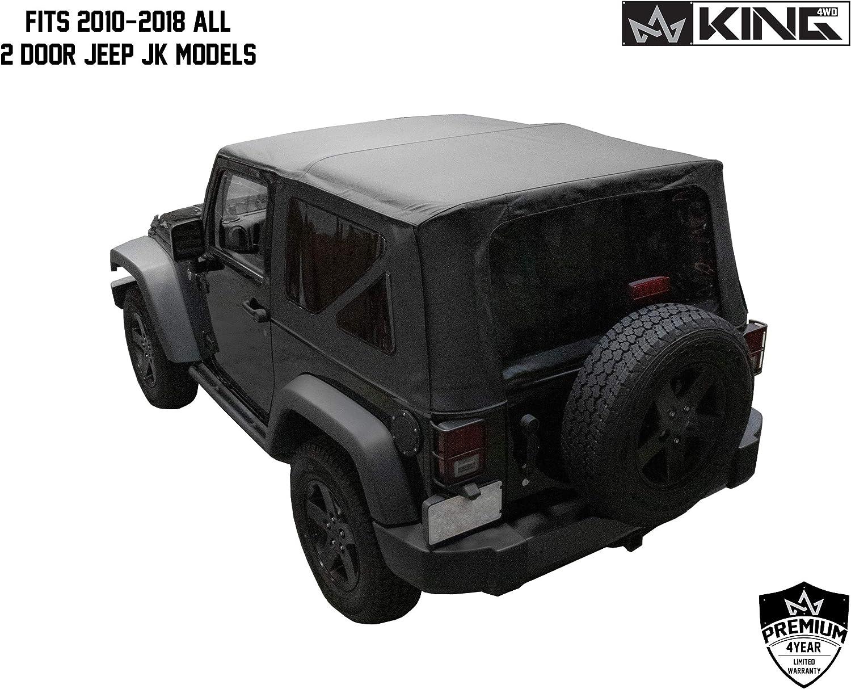 JK 2 Door 2010-2018 Jeep Wrangler Black Diamond King 4WD Replacement Soft Top