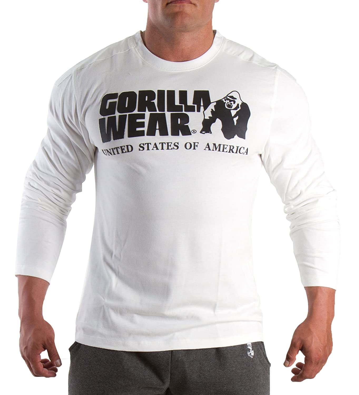 Gorilla Wear Rubber Printed Longsleeve Weiß, Sweatshirt,Longsleeve,Hoodie,Pullover,Pulli,T-Shirt