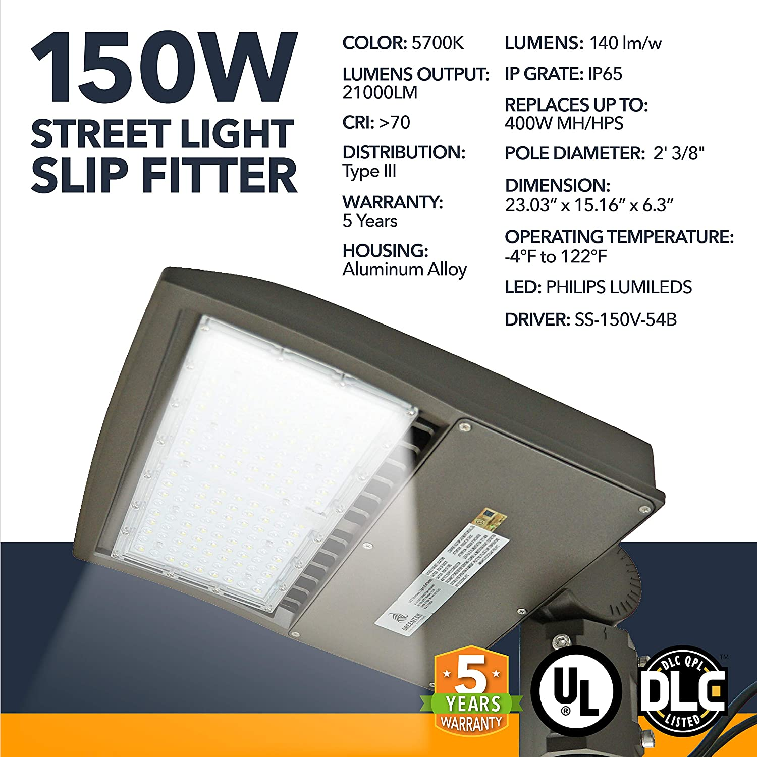 LED DLC Street Lighting - 150W - Outdoor LED Street Lights, 21000 Lumens - Commercial or Residential Area Pathway Security Lights - 5 Year Warranty - 5700K