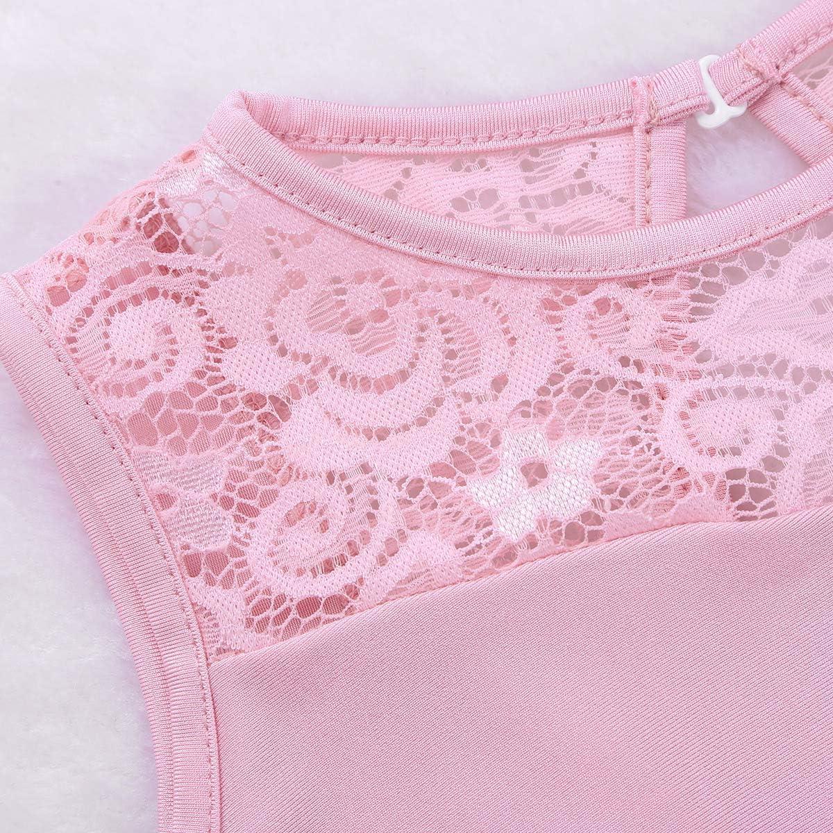 winying Girls Floral Lace Splice Cut Out Back Ballet Dance Gymnastics Leotard Jumpsuit