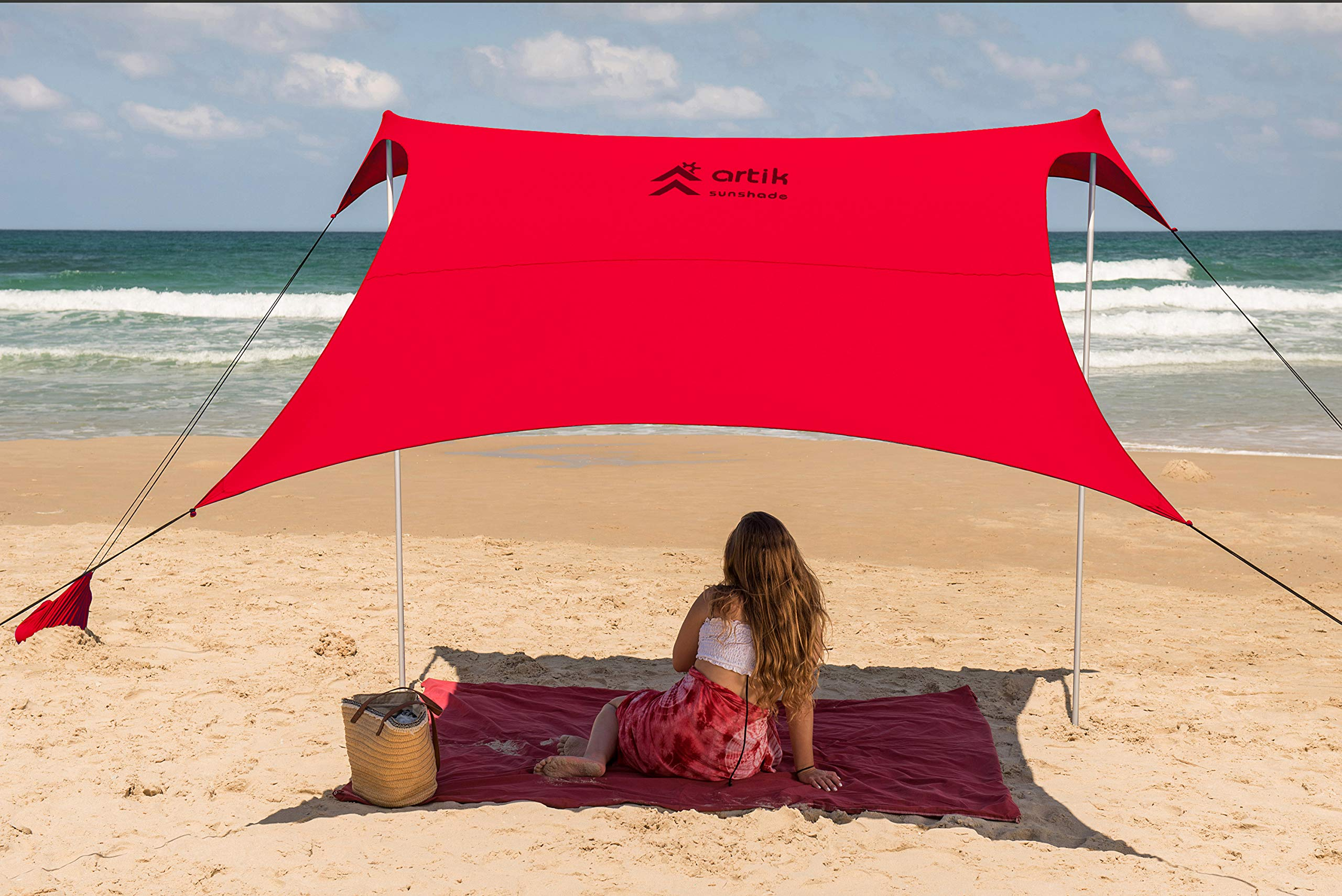 Beach Tent Sunshade Family Size 9.8'X9.8', 7ft Tall with Sandbag Anchors, Simple & Versatile. SPF50, Lycra SunShelter for The Beach,Camping and Outdoors. (red, Large) by ARTIK SUNSHADE