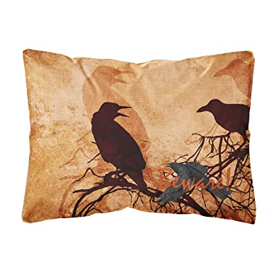 Caroline's Treasures SB3009PW1216 Beware of The Black Crows Halloween Canvas Fabric Decorative Pillow, 12H x16W, Multicolor : Garden & Outdoor