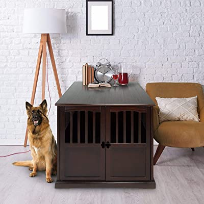HOT! Extra Large Pet Dog Cat Crate Kennel End Table Cage Wood Furniture House Locking