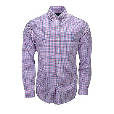 e2e5a04544d Ralph Lauren Chemise Slim fit à Carreaux Rose et Bleu pour Homme   Amazon.fr  Vêtements et accessoires