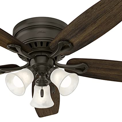 Hunter 52 bronze traditional ceiling fan with swirled marble hunter 52quot bronze traditional ceiling fan with swirled marble glass light kit certified refurbished mozeypictures Choice Image
