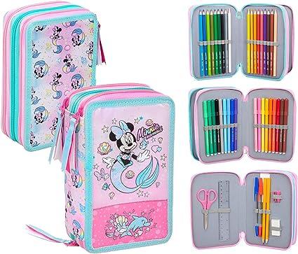 Disney Minnie - Estuche triple relleno, 44 accesorios escolares, 20 centímetros: Amazon.es: Oficina y papelería