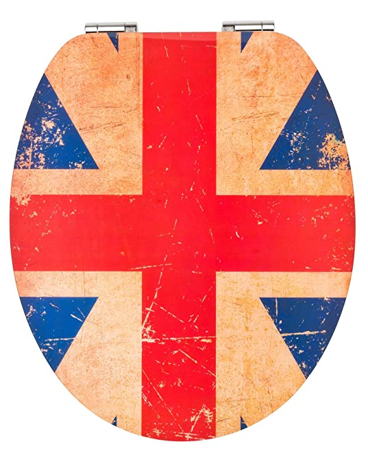 Eisl High Gloss Union Jack Toilet Seat with AutoClose Mechanism jack toilet seat