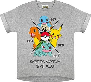 Pokemon Hazte con Todos Camiseta de Las Muchachas Cuero Gris 152 | Edades 3-13, Regalos niñas Pokemon, Ropa de los niños, Pikachu, niños y Regalo de cumpleaños Idea: Amazon.es: Ropa y accesorios