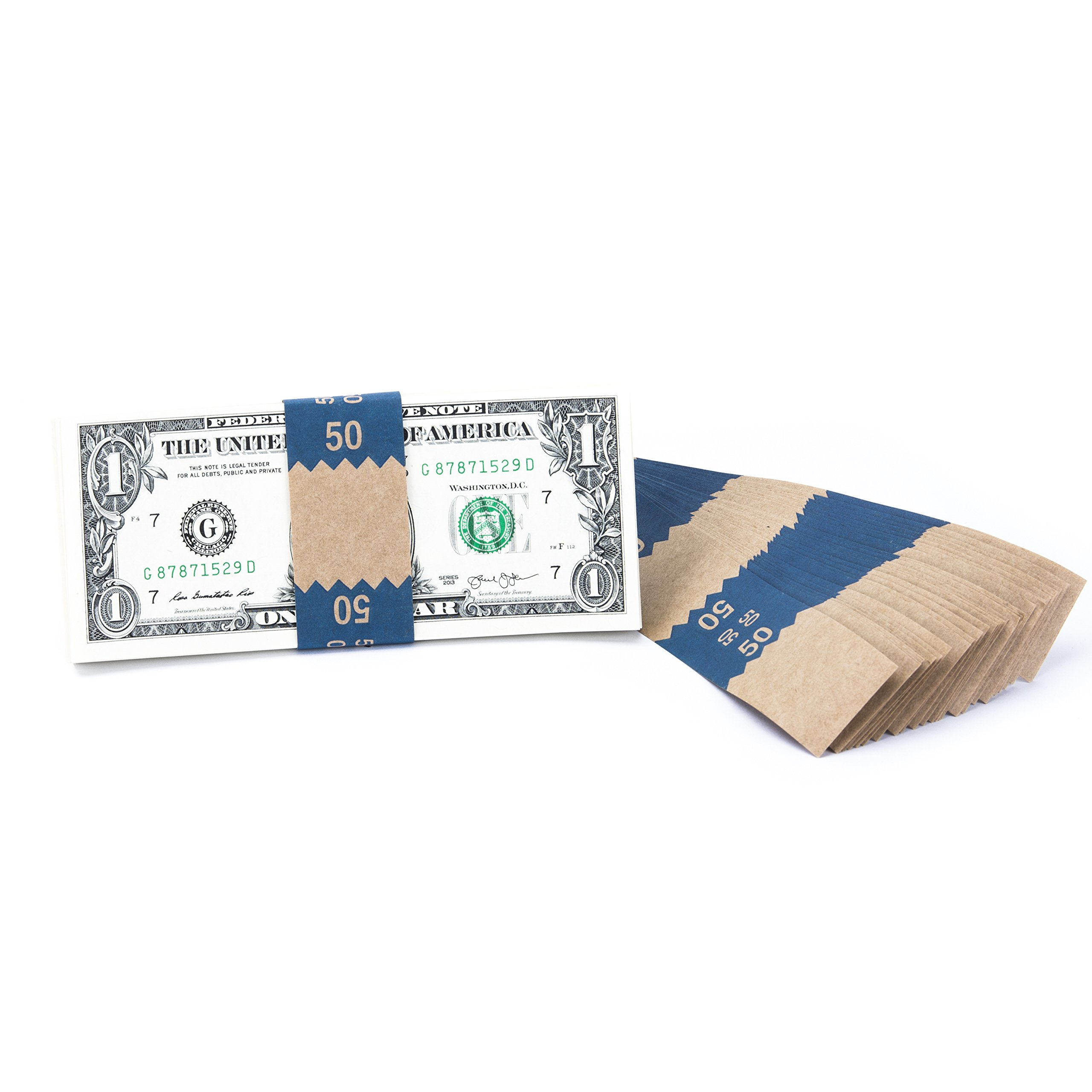Natural Kraft Saw-Tooth $50 Currency Band Bundles (10000 Bands) by Carousel Checks Inc.
