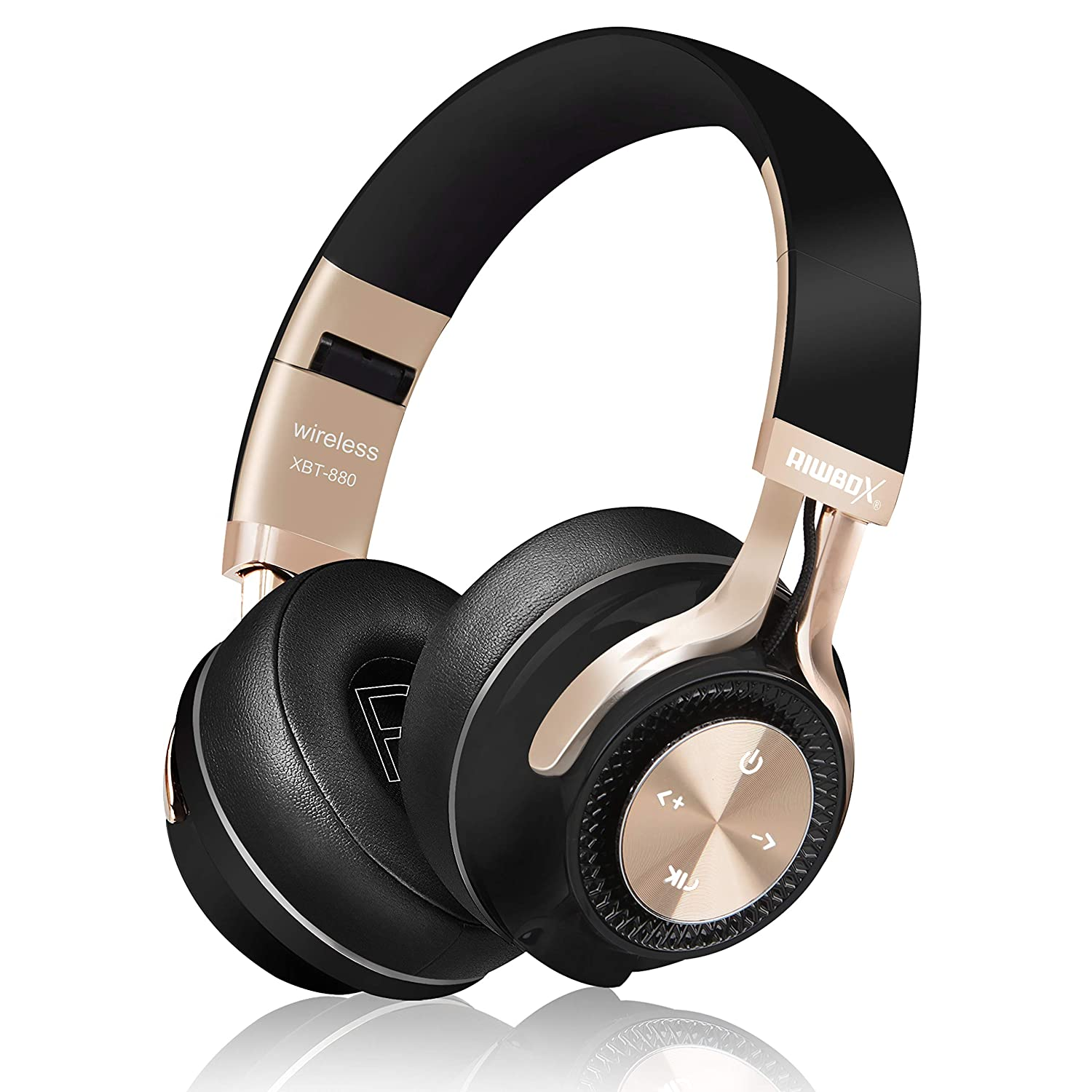 Bluetooth Headphones, Riwbox XBT-880 Wireless Bluetooth Headphones Over Ear with Microphone and Volume Control Wireless and Wired Foldable Headset for iPhone/iPad/PC/Cell Phones/TV (Black&Gold)