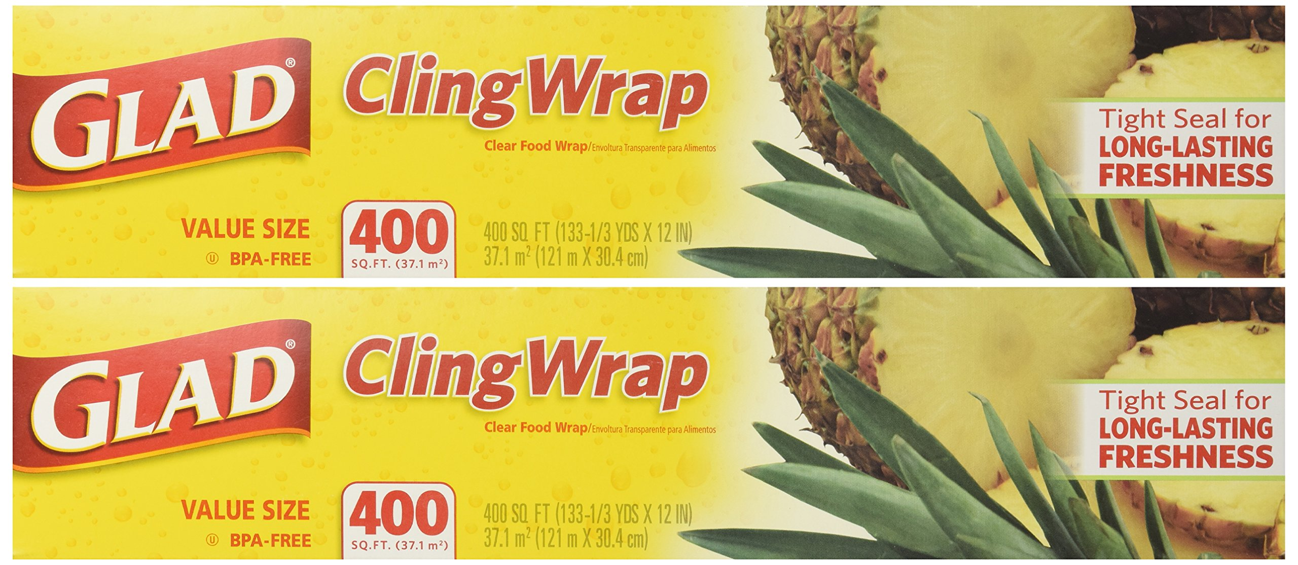 Glad Cling Plastic Wrap, 400 Square Foot Roll (Pack of 2 Rolls, Total 800 Sqf) by Glad