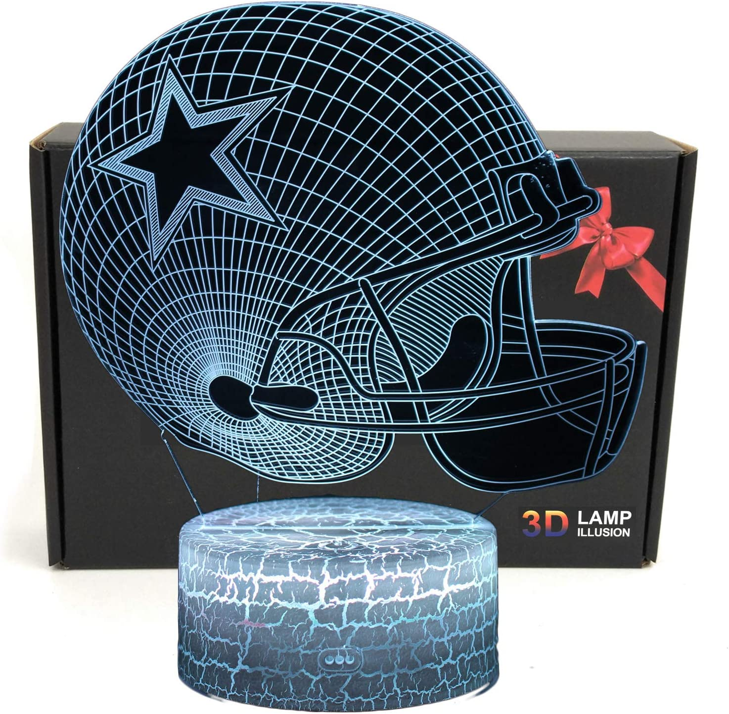 Deal Best NFL Team 3D Optical Illusion Smart 7 Colors LED Night Light Table Lamp with USB Power Cable (Dallas Cowboys)