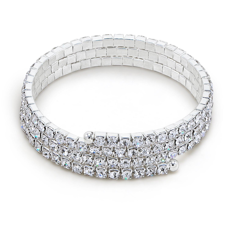 Katie's Style 3 Rows Rhinestone Crystal Wraparound Coil Style Bridal Stretch Fashion Wrap Bracelet