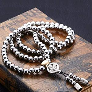 Diyade Necklaces for Men, 108 Stainless Steel Buddha Beads Necklace Chain, Outdoor