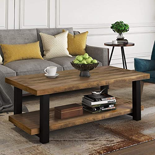 P PURLOVE Round Coffee Table Rustic Style Living Room Table Home Table with Storage Shelf Metal Frame Easy Assembly Distressed Brown and Black