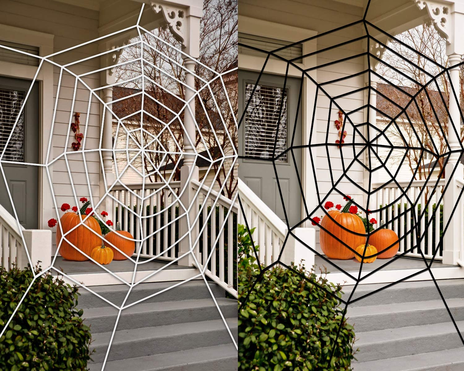2 Pack Giant Spider Web Halloween Decorations, 11ft White and Black Spider Web Set,Outdoor Yard Haunted House Party Decor Supplies
