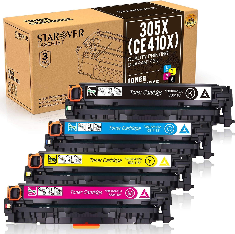 STAROVER Cartuchos De Tóner Compatible para 305X 305A para HP Laserjet Pro MFP M351 M351a M375 M375nw MFP M451dn M451 M451dw M451nw M475 M475dn M475dw