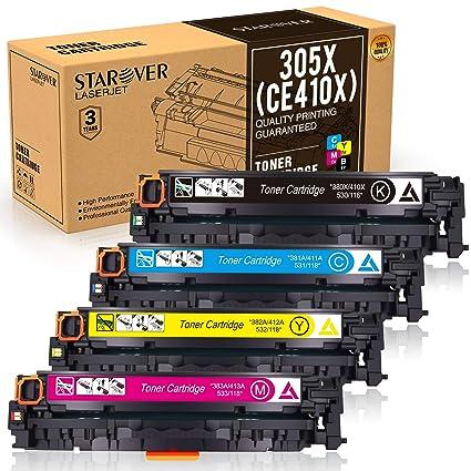STAROVER 4x 305X (CE410X-CE413X),305A (CE410A-CE413A),Cartuchos De Tóner Compatible Para HP Laserjet Pro MFP M351 M351a M375 M375nw MFP M451dn M451 ...
