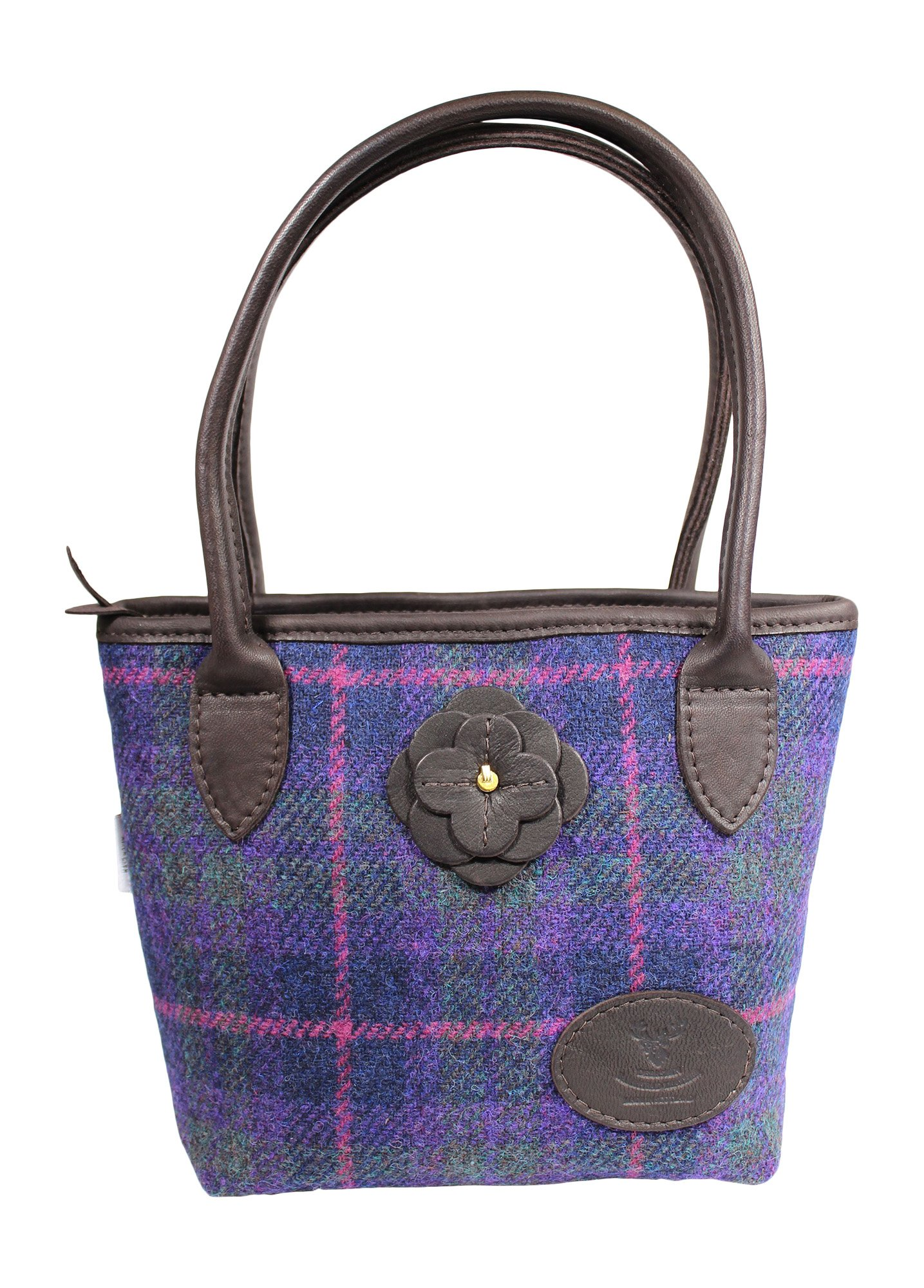 Wild Scottish Deerskin Designer Leather Authentic Purple Herringbone Harris Tweed Daisy Tote Bag