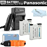 2 Pack Battery And Charger Kit For Panasonic Lumix DMC-TS5, DMC-TS5K, DMC-TS5S, DMC-TS6, DMC-TS6D Tough Digital Camera Includes 2 Replacement DMW-BCM13E Batteries + Ac/Dc Charger + FLOAT STRAP + More