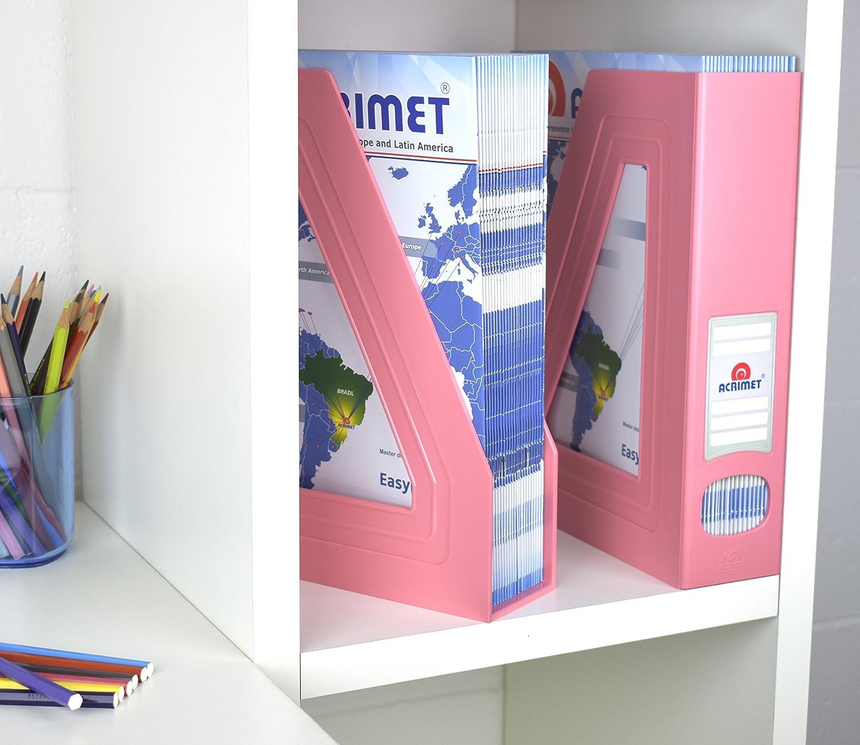 Acrimet Organizador de Revistas y Documentos Plastico Color Rosa 2 Unidades Revistero