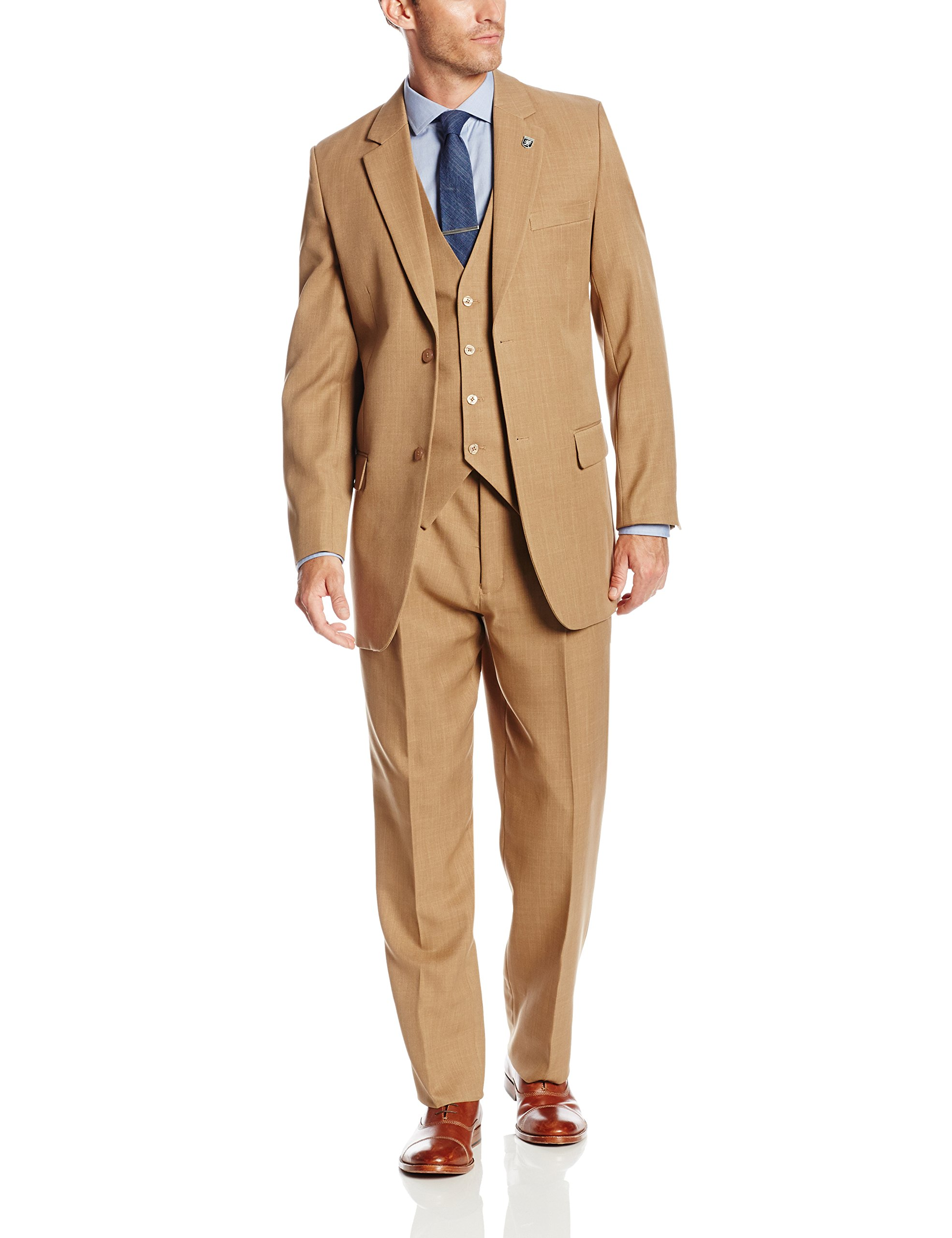 Stacy Adams Men's Suny Vested 3 Piece Suit, Tan, 42 Long