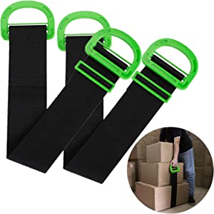Keast 2Pcs Adjustable Lifting Moving Straps, Multifunctional Carrying Strap Carrying Belt with Durable Handles Heavy Object for Furniture, Boxes, Mattress,Construction or Awkward Objects, 500Lbs