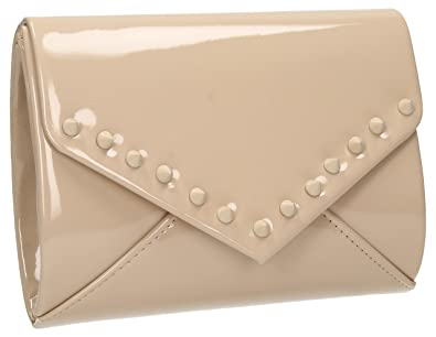 Ora Nude Spike Stud Womens Patent Leather Clutch Bag Party Prom Bag in Nude 09689b7a4