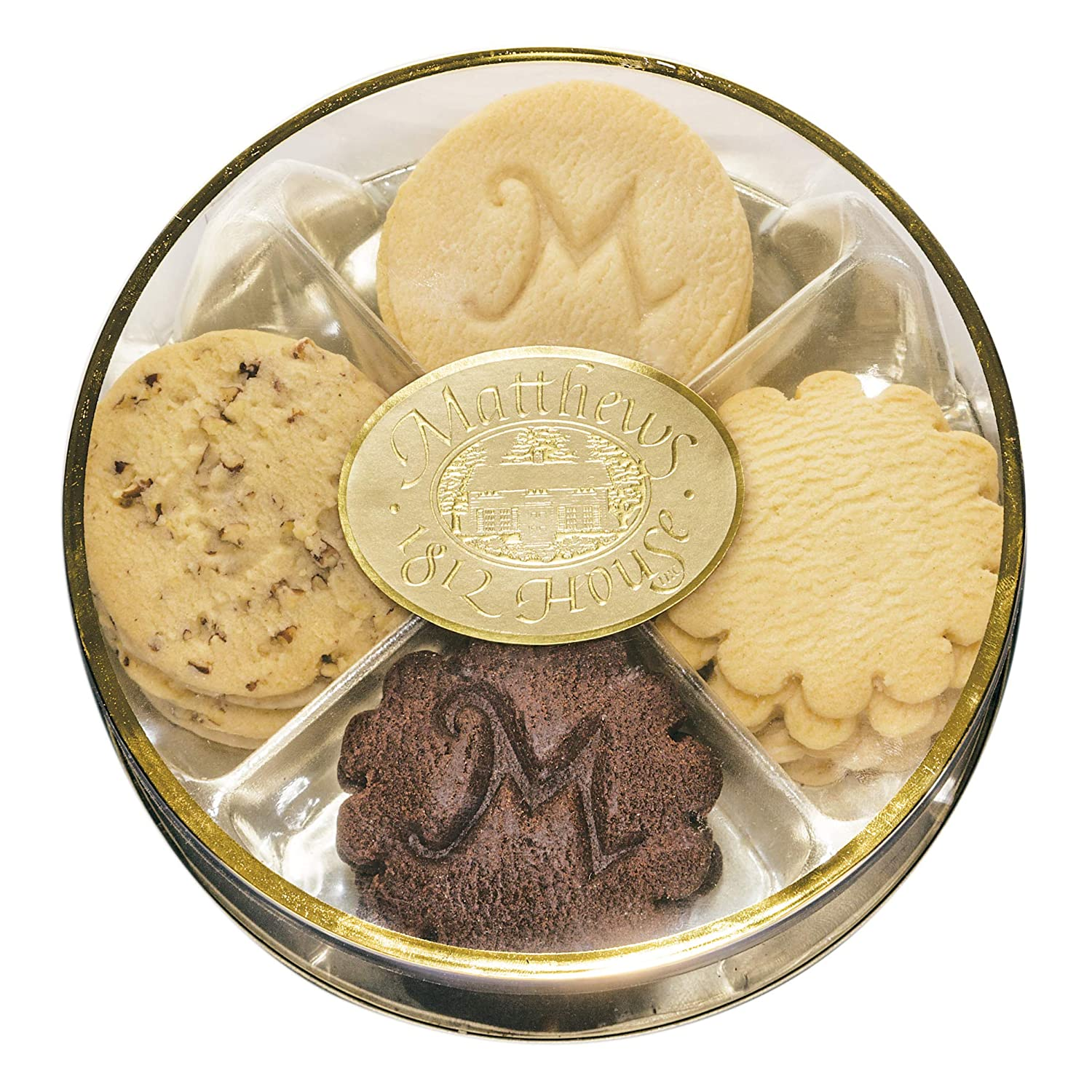 Matthews 1812 House Gourmet Shortbread Cookie Sampler Assortment- 20 Cookies, 4 Flavors: Chocolate, Lemon, Pecan, Traditional in Gift Package; Small Batch, All Natural, Real Butter, No Preservatives.