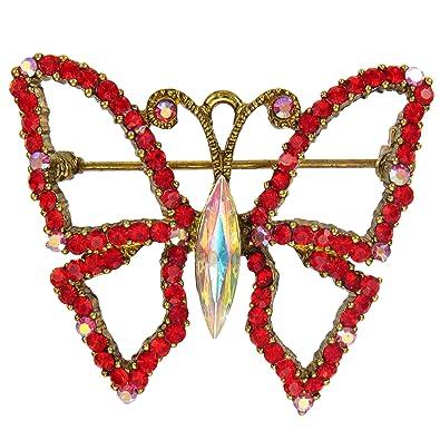 Amazon com: Red Butterfly Brooch with Light Siam Swarovski