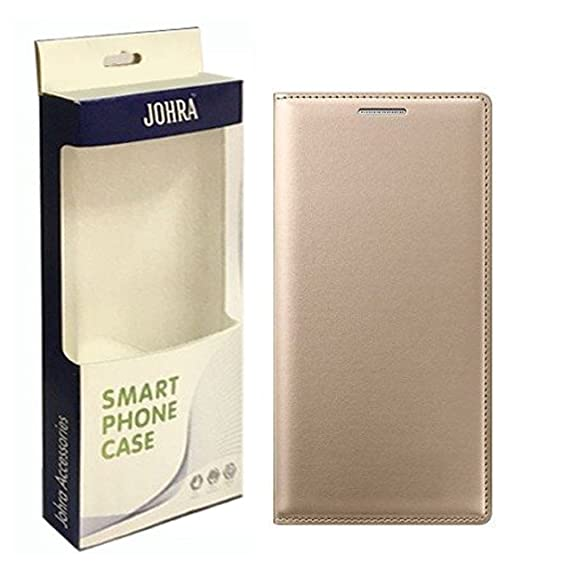 new style 1ff08 8776a Johra Leather Flip Cover Case For Samsung Galaxy J7 Prime - Gold