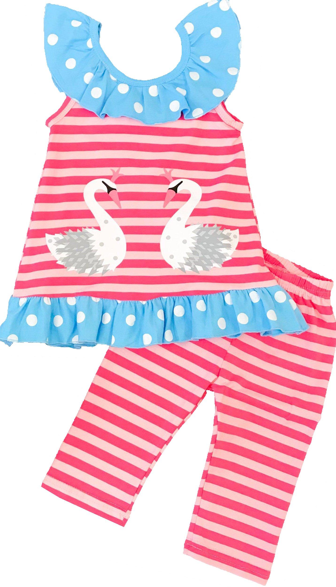 Toddler Little Girls Summer Flamingo Coral Stripes Capri Set 5/XL