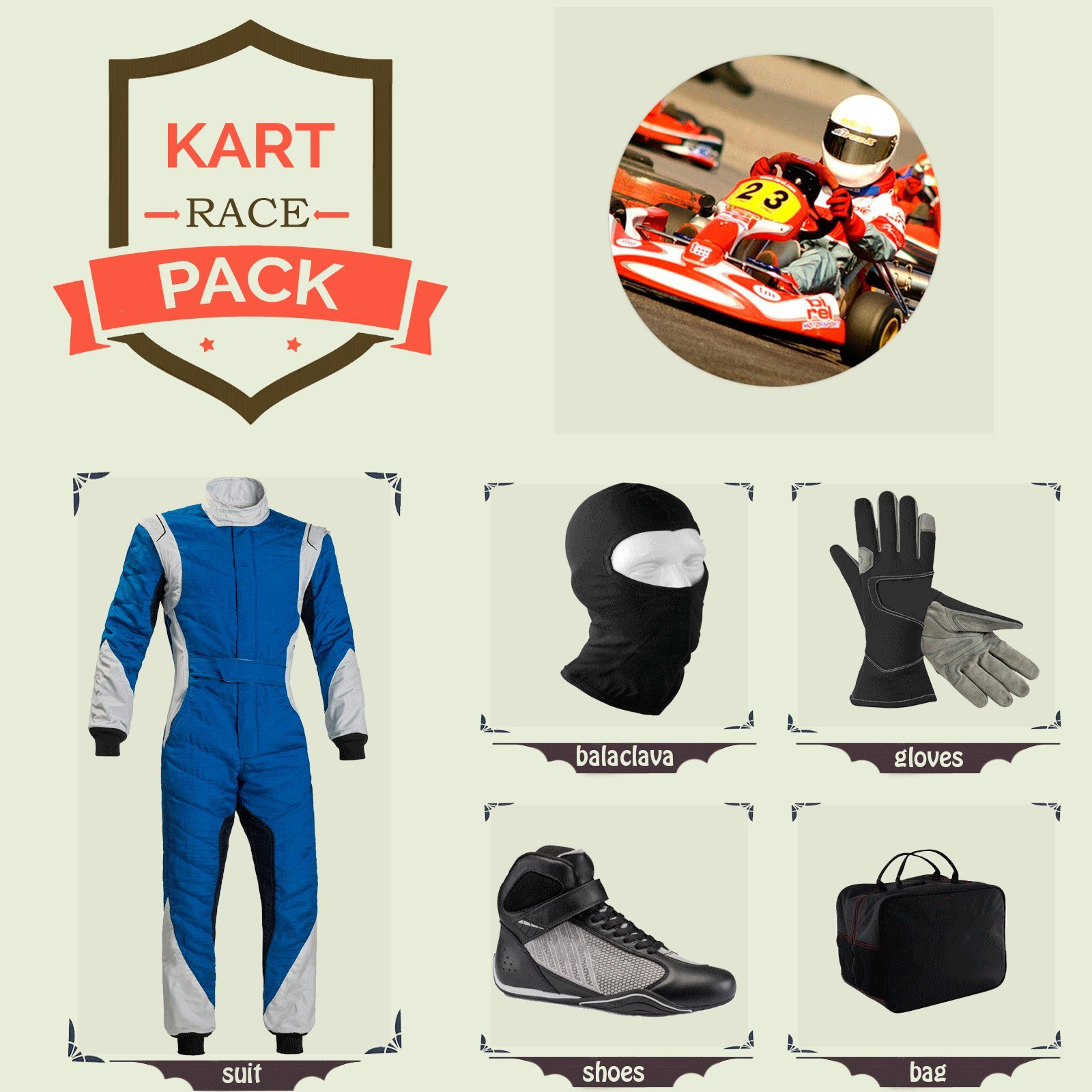 Sports Blue Go Kart Racing Suit Suit,Gloves,Balaclava and Shoes free bag - Blue With Gray Black Style