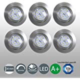 Set de 6 Spots ultra plats LED à encastrer/orientable/dimmable/incl. LED 5,5 W/470 lm/Nickel mat, set de 6, nickel mat, 5,5 watts 230 volts[Classe énergétique A+]