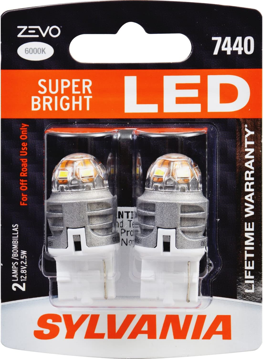 Ideal for Daytime Running Lights Bright LED Bulb 7440 T20 ZEVO LED White Bulb Contains 2 Bulbs DRL SYLVANIA and Back-Up//Reverse Lights