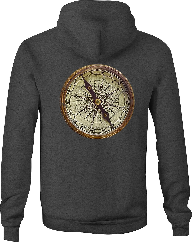 Zip Up Hoodie Nautical Sea Compass Hooded Sweatshirt for Men