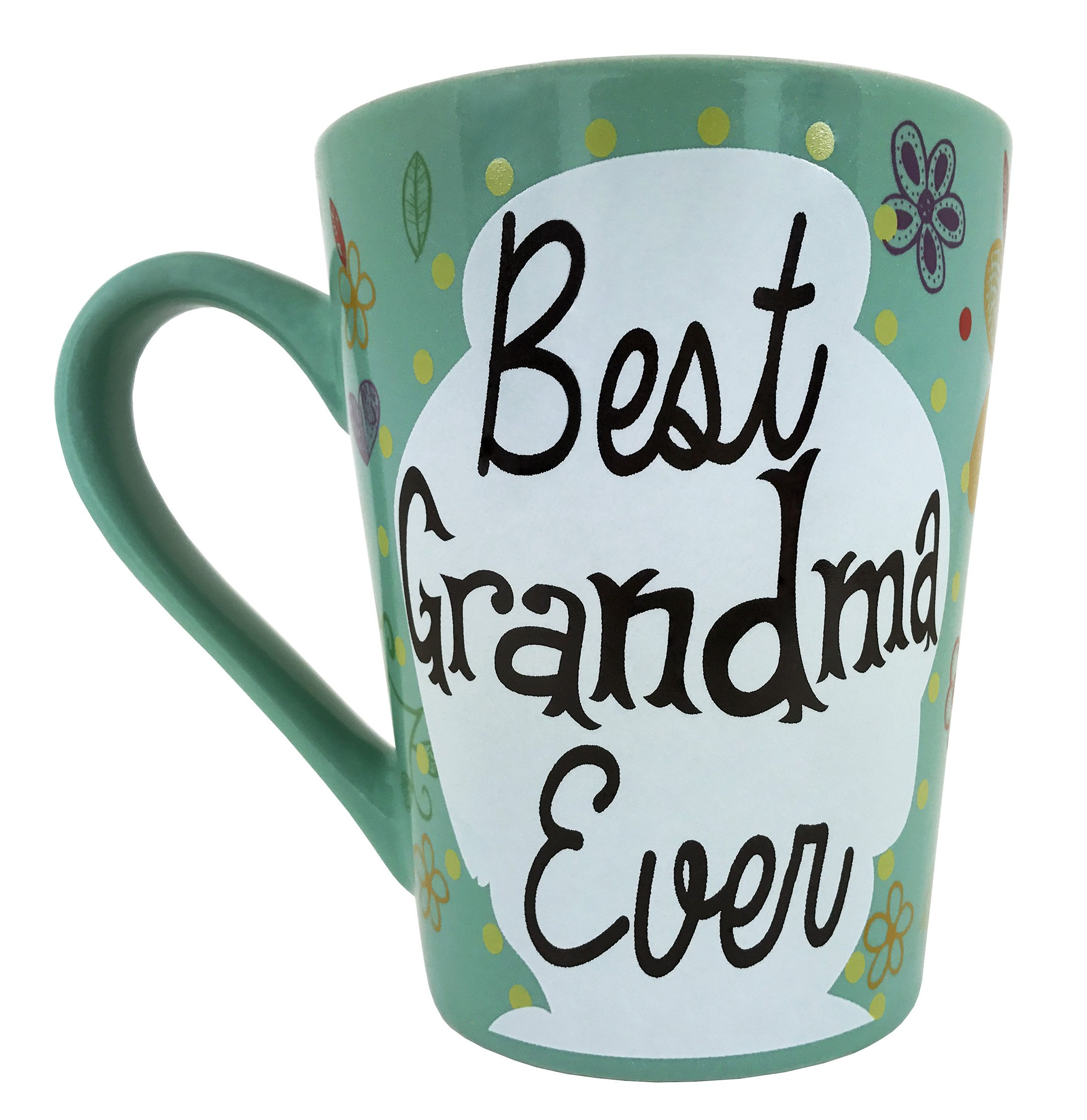 KINREX Best Grandma Ever Coffee Mugs Gifts - Mothers and Grandmother Birthday Gift - Ceramic Tea Cup - 12 oz.
