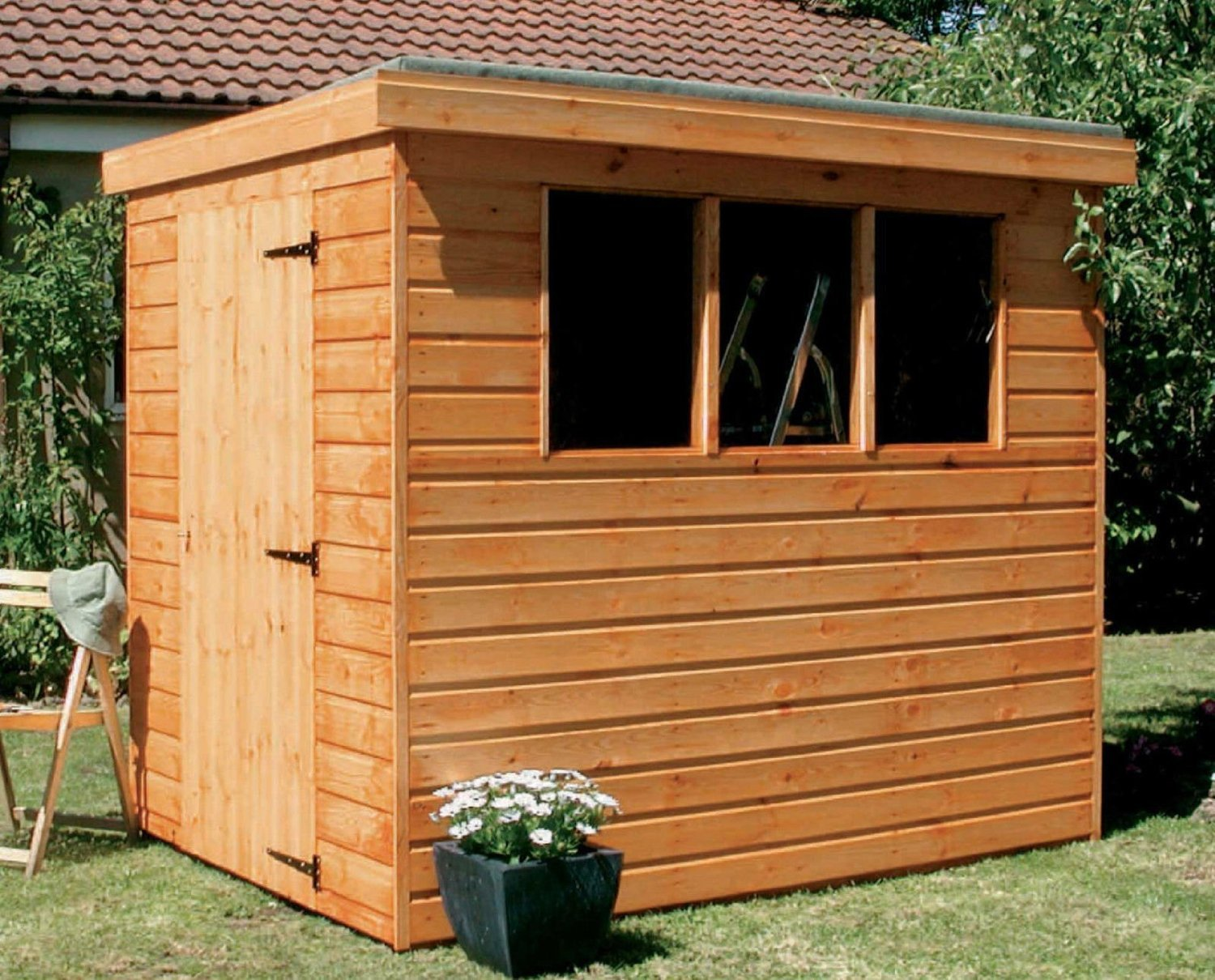 6x5 pent garden shed heavy duty tongue groove wood amazoncouk kitchen home
