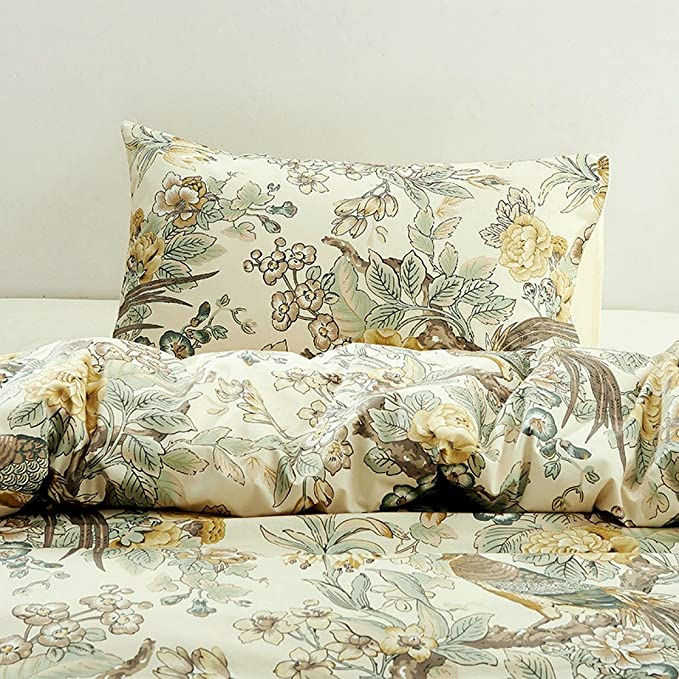 Chinoiserie  Fantastic Cotton Sateen Sheet Set Bedding by Spoonflower Birds And Blooms Chinoiserie Violet by ceciliamok Garden Sheets
